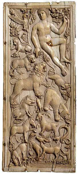 Adam names all the animals, as described in Genesis II of the Bible. Roman relief from the 5th century.