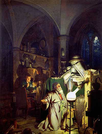 The Alchemist, in search of the Philosopher's Stone. Painting by Joseph Wright, 1771.