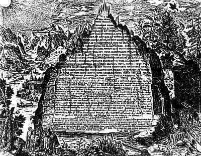 The Emerald Tablet, as imagined by Heinrich Khunrath, in 1606.