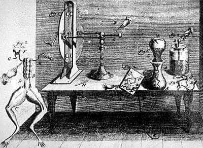 Galvani's laboratory and frog experiment.