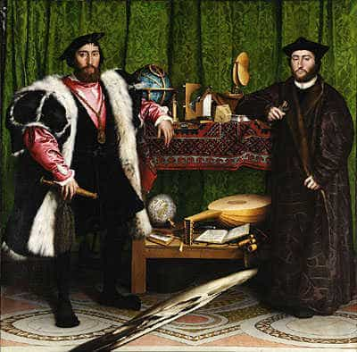 Anamorphosis by Hans Holbein the Younger, 1533.