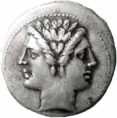 Two-faced Janus. Roman coin.