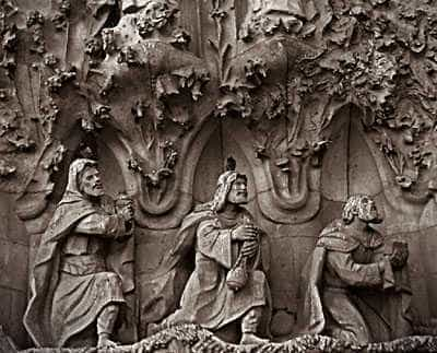 The three wise men, mages from the east. From the Sagrada Familia.