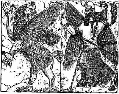 Tiamat and Marduk, Babylonian deities, on an ancient relief.