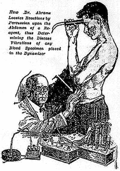 Albert Abrams and his oscilloclast, from a 1923 booklet.