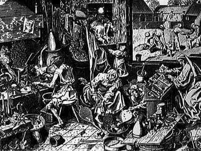 The alchemist. Woodcut by Pieter Bruegel the Elder, 1553.