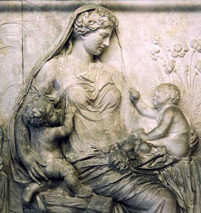 Gaia. Greek relief.