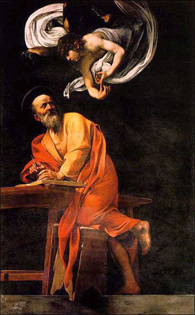 The inspiration of St. Matthew. Painting by Michelangelo Caravaggio, 1602.