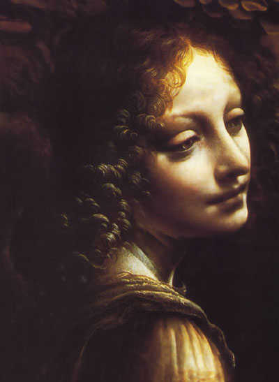 Detail from Virgin of the Rocks, painted by Leonardo da Vinci in the 1480's.