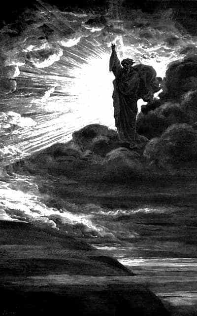 God creates light. Bible illustration by Gustave Doré, 1866.