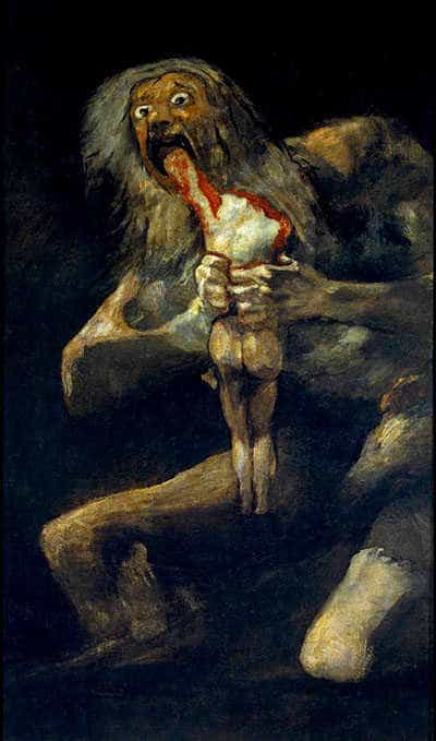 The Greek god Cronus (Roman name Saturn) devours one of his children. Painting by Francisco Goya, 1819.