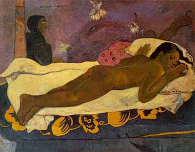 Spirit of the dead keeps watch. Oil painting by Paul Gauguin, 1892.