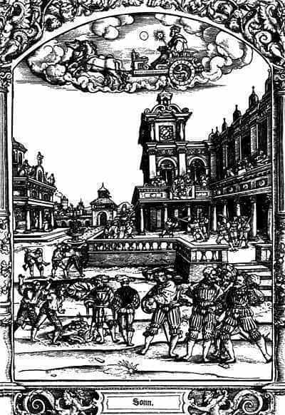 The sun and its occupations. Woodcut from the 1530's, by Hans Sebald Beham.